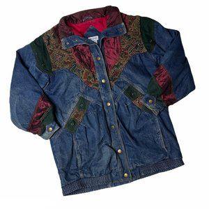 Vintage 90s Ladies Denim Overcoat Large Jacquard